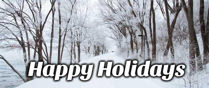 Happy Holidays written with a background of a snow covered road and snow covered trees